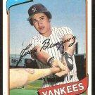 NEW YORK YANKEES JUAN BENIQUEZ 1980 TOPPS # 114 VG/EX