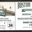 WASHINGTON NATIONALS BOSTON RED SOX 2012 TICKET DAVID ORTIZ HR ZIMMERMANN ESPINOSA