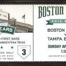 TAMPA BAY RAYS BOSTON RED SOX 2012 TICKET CODY ROSS LUKE SCOTT AVILAS HR DAVID ORTIZ 3 HITS