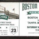 TAMPA BAY RAYS BOSTON RED SOX 2012 TICKET SALTALAMMACHIA HR  WILL MIDDLEBROOKS