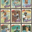 1980 TOPPS TEXAS RANGERS TEAM LOT 28 DIFF FERGIE JENKINS BUDDY BELL AL OLIVER LYLE +