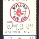 OAKLAND ATHLETICS BOSTON RED SOX 1986 TICKET JIM RICE HR WADE BOGGS 2 HITS