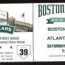 ATLANTA BRAVES BOSTON RED SOX 2012 TICKET MIDDLEBROOKS HR BOURNE 3 HITS