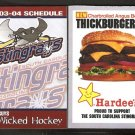CHARLESTON SOUTH CAROLINA STINGRAYS 2003-04 HARDEES POCKET SCHEDULE NICE GUYS WICKED HOCKEY
