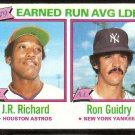 ERA LDR NEW YORK YANKEES RON GUIDRY HOUSTON ASTROS J.R. RICHARD 1980 TOPPS # 207 EX/EM