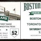 TORONTO BLUE JAYS BOSTON RED SOX 2012 TICKET ENCARNACION ARENCIBIA SALTAMACCHIA HR