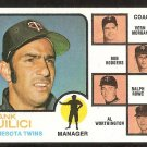 MINNESOTA TWINS FRANK QUILICI & COACHES 1973 TOPPS # 49 EX/NM