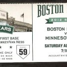 MINNESOTA TWINS BOSTON RED SOX 2012 TICKET JOE MAUER HR MORNEAU 2 HITS