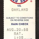 OAKLAND ATHLETICS BOSTON RED SOX 1988 TICKET WADE BOGGS 3 HITS LANSFORD HASSEY HR