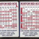 BOSTON RED SOX 1999 SCHEDULE CARD LINE HOUSE RESTAURANT KITTERY YORK MAINE
