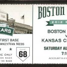 KANSAS CITY ROYALS BOSTON RED SOX 2012 TICKET 19 RUNS 34 HITS