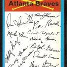 ATLANTA BRAVES 1973 TOPPS BLUE TEAM CHECKLIST EM 3 blocks marked