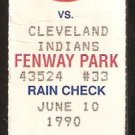 CLEVELAND INDIANS BOSTON RED SOX 1990 TICKET WADE BOGGS BROOK JACOBY CANDIOTTI
