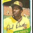 san Diego Padres Paul Dade 1980 Topps Baseball Card # 254 nr mt