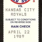 Kansas City Royals Boston Red Sox 1989 Ticket Wade Boggs Jim Rice Jim Eisenreich Ellis Burks Gubicza
