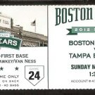 Tampa Bay Rays Boston Red Sox 2012 Ticket Sean Rodriguez Alex Gonzalez Will Rhymes Kevin Youkilis