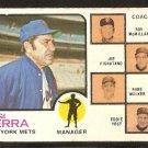 New York Mets Yogi Berra and Coaches 1973 Topps Baseball Card # 257 good