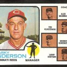 Cincinnati Reds Sparky Anderson and Coaches 1973 Topps Baseball Card # 296 nr mt