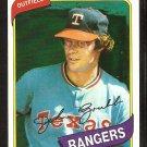 Texas Rangers Johnny Grubb 1980 Topps Baseball Card # 313 nr mt
