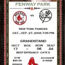 New York Yankees Boston Red Sox 2008 Ticket Robinson Cano Melky Cabrera Alex Cora Mike Timlin