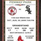 Chicago White Sox Boston Red Sox 2008 Ticket Dustin Pedroia AJ Pierzynski Michael Bowden Ellsbury