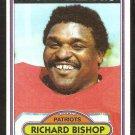 New England Patriots Richard Bishop 1980 Topps Football Card # 159 ex