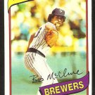 Milwaukee Brewers Bob McClure 1980 Topps Baseball Card # 357 nr mt