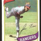 Texas Rangers Jim Kern 1980 Topps Baseball Card # 369 nr mt