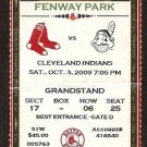 Cleveland Indians Boston Red Sox 2009 Ticket 5 hr Victor Martinez Chin-Soo Choo Dustin Pedroia