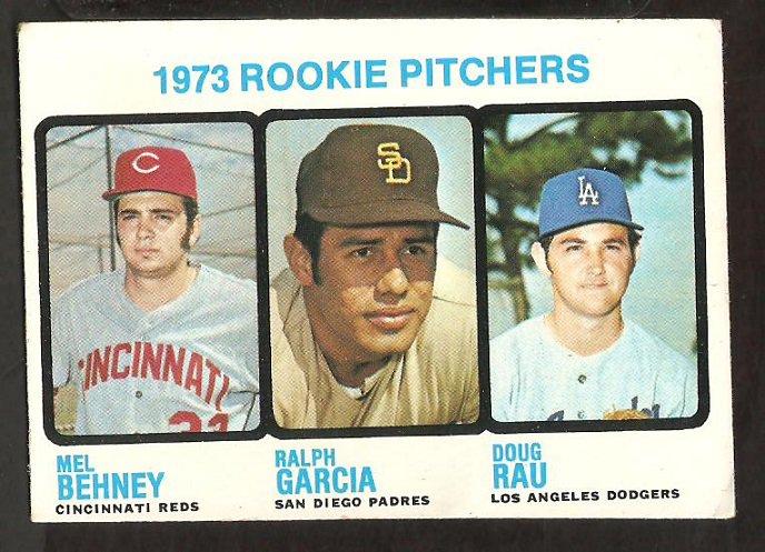 Rookie Pitchers Los Angeles Dodgers Doug Rau Cincinnati Reds Padres 1973 Topps Baseball Card #602 vg