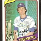 Milwaukee Brewers Jim Wohlford 1980 Topps Baseball Card #448 nr mt
