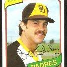 San Diego Padres Bob Shirley 1980 Topps Baseball Card # 476 nr mt