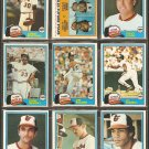 1981 Topps Baltimore Orioles Team Lot Eddie Murray Jim Palmer Al Bumbry Rick Dempsey Mike Flanagan