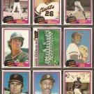 1981 Topps San Francisco Giants Team Lot Jack Clark Vida Blue Team Card Montefusco Darrell Evans