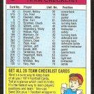 Minnesota Vikings Unmarked Team Checklist 1974 Topps Football Card vg