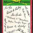 Montreal Expos Unmarked Red Team Checklist 1974 Topps Baseball Card g/vg