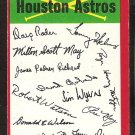 Houston Astros Unmarked red Team Checklist 1974 Topps Baseball Card vg/ex