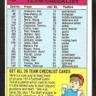Cincinnati Bengals Team Checklist 1974 Topps Football Card unmarked vg/ex