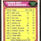 Tampa Bay Buccaneers Bucs Team Checklist 1976 Topps Football Card # 477 vg