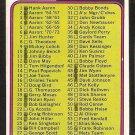 1974 Topps Baseball Card Checklist # 126 Cards 1-132 vg/ex marked