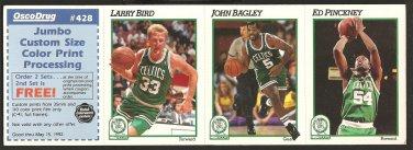 BOSTON CELTICS LARRY BIRD ON 1991 HOOPS/OSCO 3 CARD PANEL