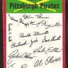 Pittsburgh Pirates Red Team Checklist 1974 Topps Baseball Card