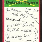 Detroit Tigers Red Team Checklist 1974 Topps Baseball Card