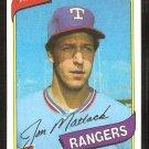Texas Rangers Jon Matlack 1980 Topps Baseball Card # 592 nr mt