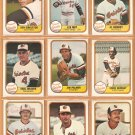 1981 Fleer Baltimore Orioles Team Lot Jim Palmer Eddie Murray Earl Weaver Mike Flanagan Al Bumbry