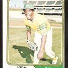 1974 Topps Baseball Card # 290 Oakland Athletics Vida Blue vg