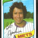 New York Mets Bob Apodaca 1980 Topps # 633 Baseball Card