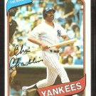1980 Topps Baseball Card # 625 New York Yankees Chris Chambliss nr mt