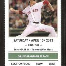Boston Red Sox Tampa Bay Rays 2013 Ticket David Ross HR Shane Victorino Jacoby Ellsbury Jon Lester