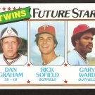 Minnesota Twins Future Stars Dan Graham Rick Sofield Gary Ward 1980 Topps # 669